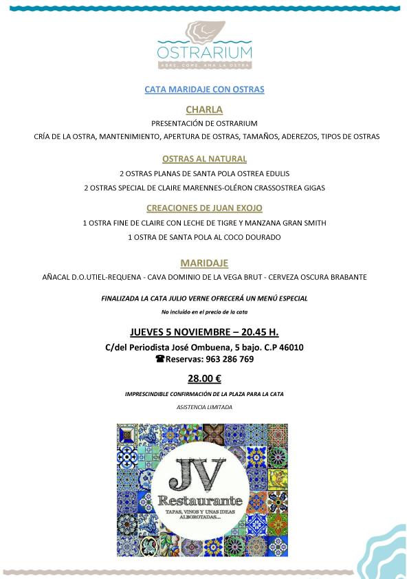 Ostrarium cata maridaje restaurante julio verne - Restaurante julio verne ...